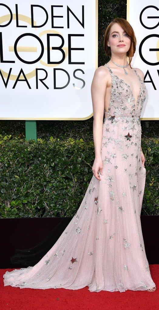 Emma Stone in pink Valentino