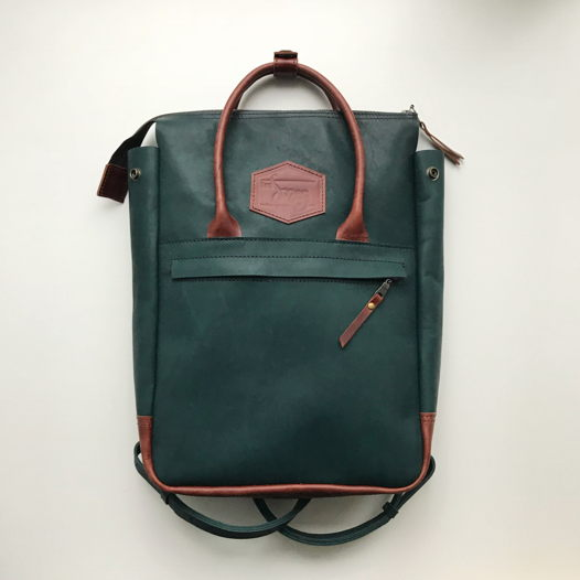 Кожаный рюкзак-сумка Urban Pack Dark Green/Brown