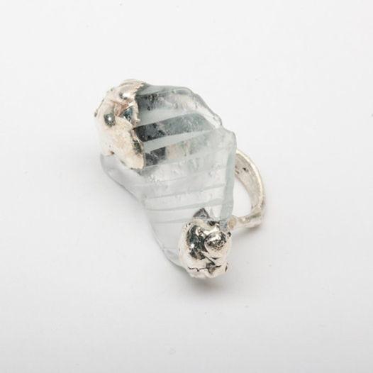 Кольцо из стекла Полосатый лед