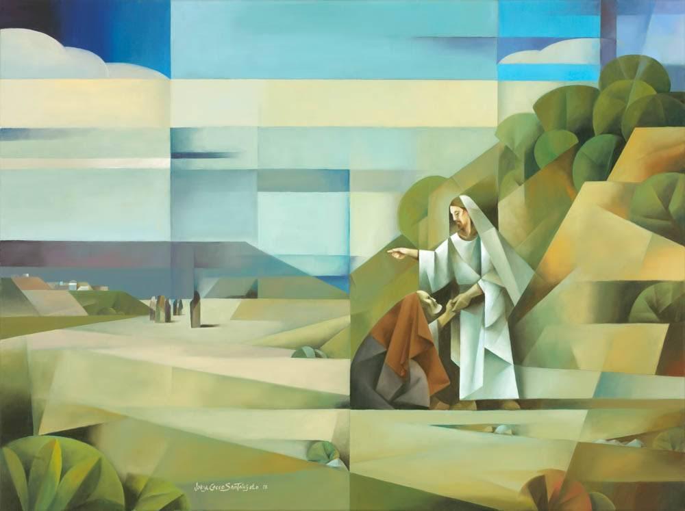 Sacrocubism painting of Jesus greeting the