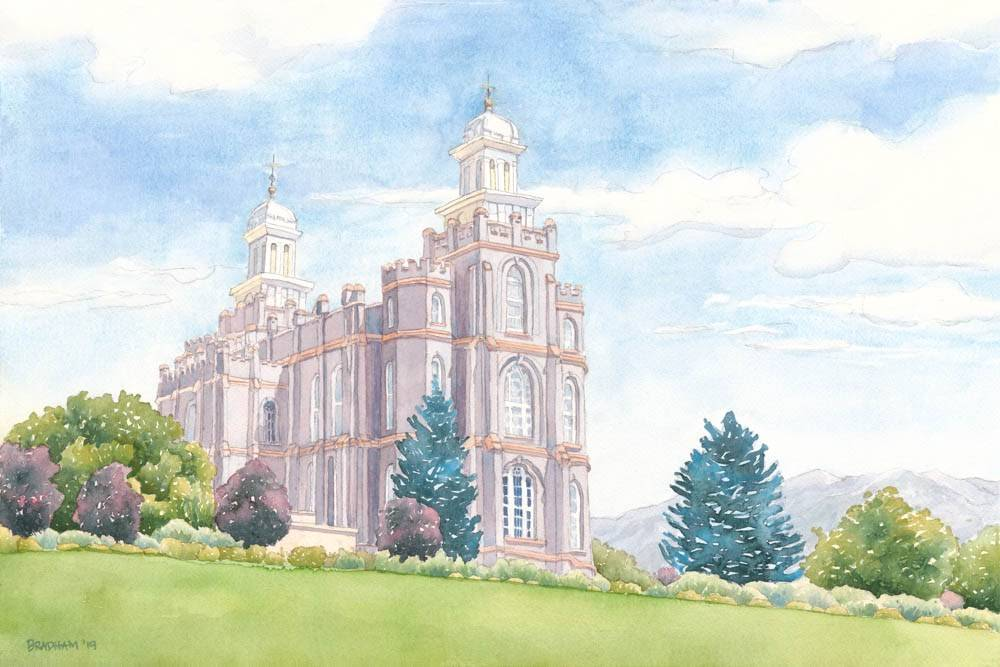 Painting of Logan Temple on sunny day.