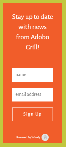 restaurant email marketing example newsletter signup form