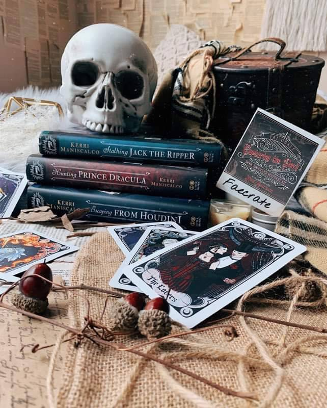 Stalking Jack the Ripper Series pictured with a skull and picture of Audrey and Thomas