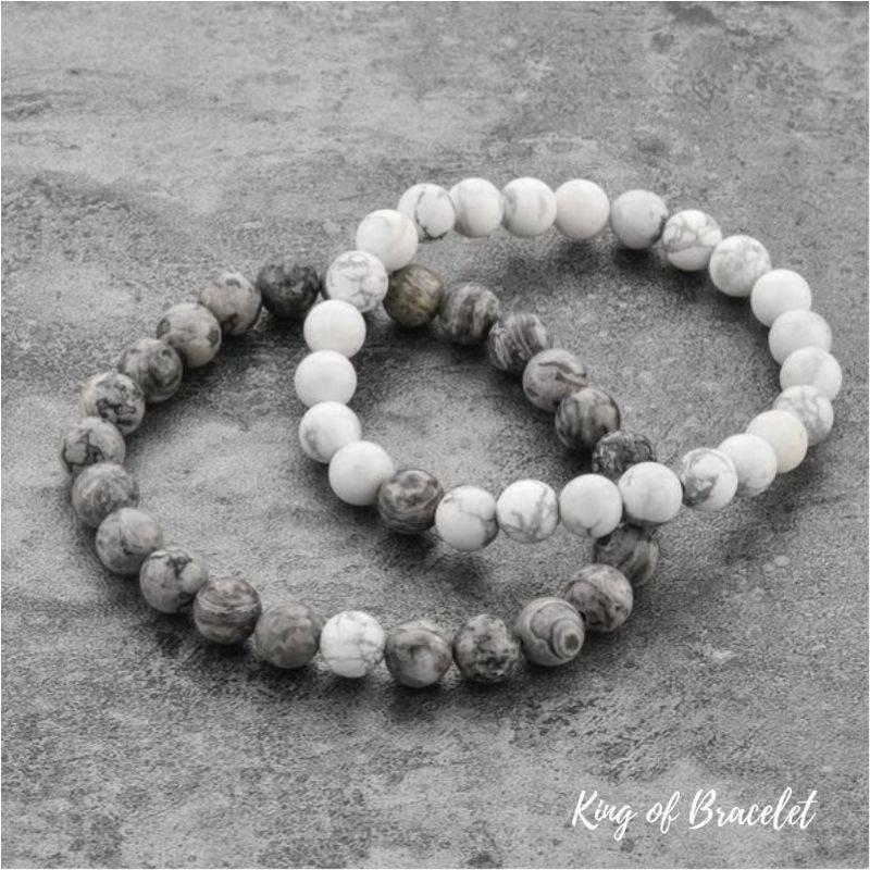 Bracelet Distance en Perles Grises et Blanches - King of Bracelet