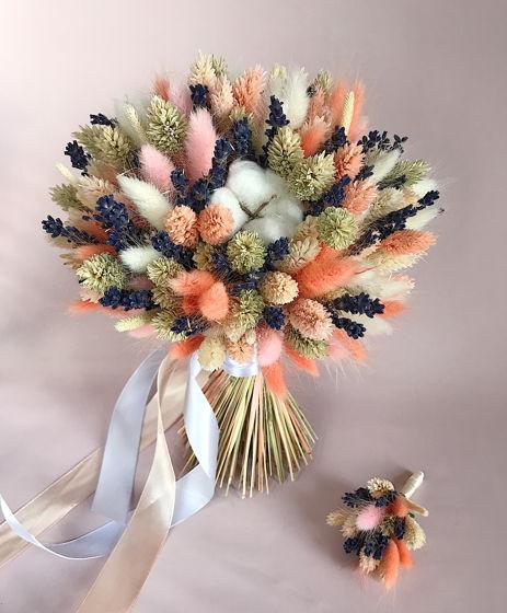"""Букет из сухоцветов """"Персик и Лаванда"""" свадебный"""