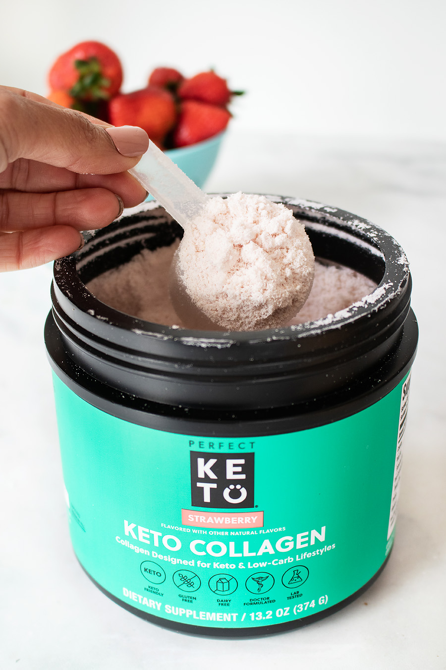strawberry collagen protein shake