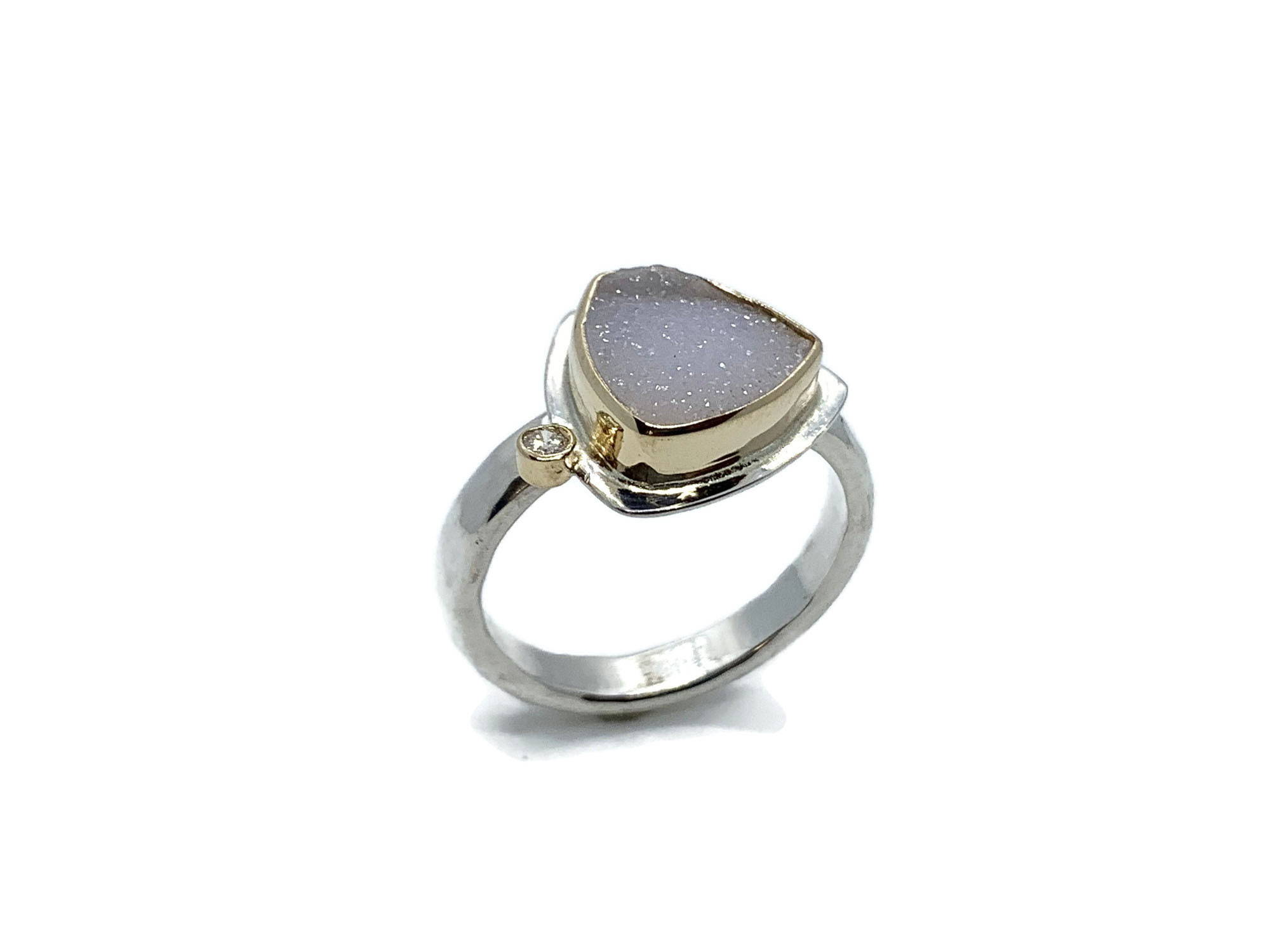 Druzy Ring Trillon Shape with Diamond