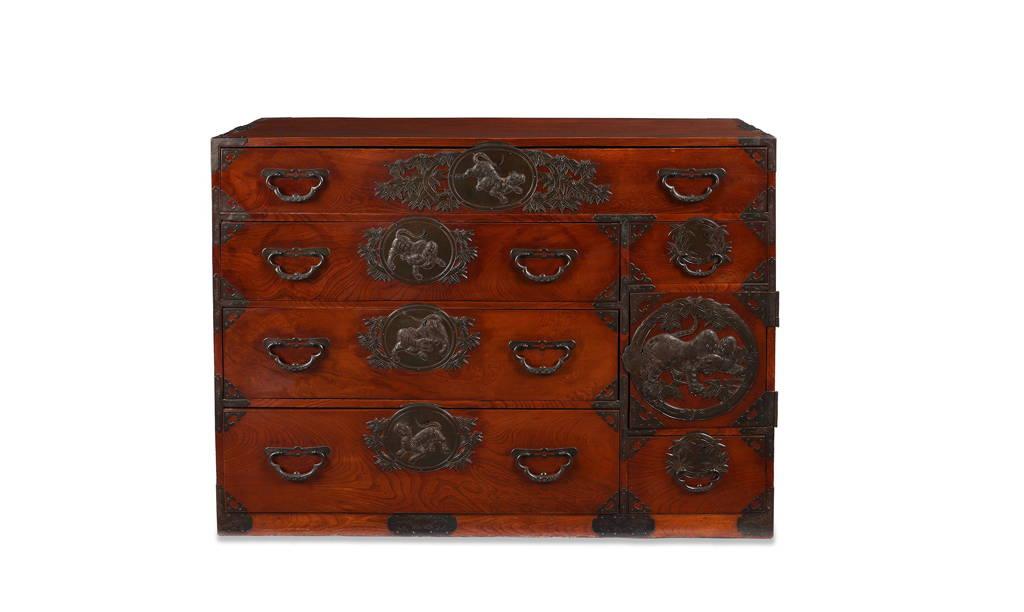 Japanese Isho Dansu Tiger Design from Sendai Province - late 19thC   Indigo Antiques