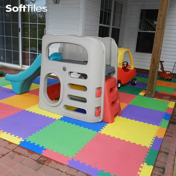 Perfect Outdoor Patio Cushioned Childrenu0027s Play Mat Using SoftTiles Foam Mats  D136