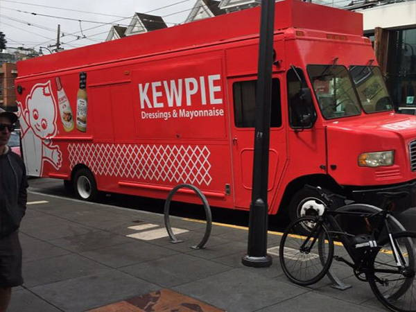 Kewpie food truck across from painted ladies in San Francisco