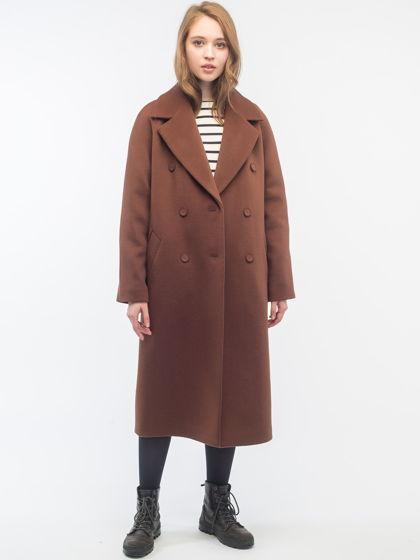 Утеплённое двубортное пальто Milk Chocolate