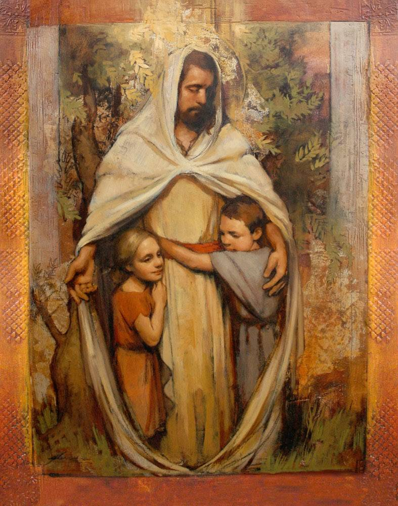 LDS wall art of two children embracing Christ.