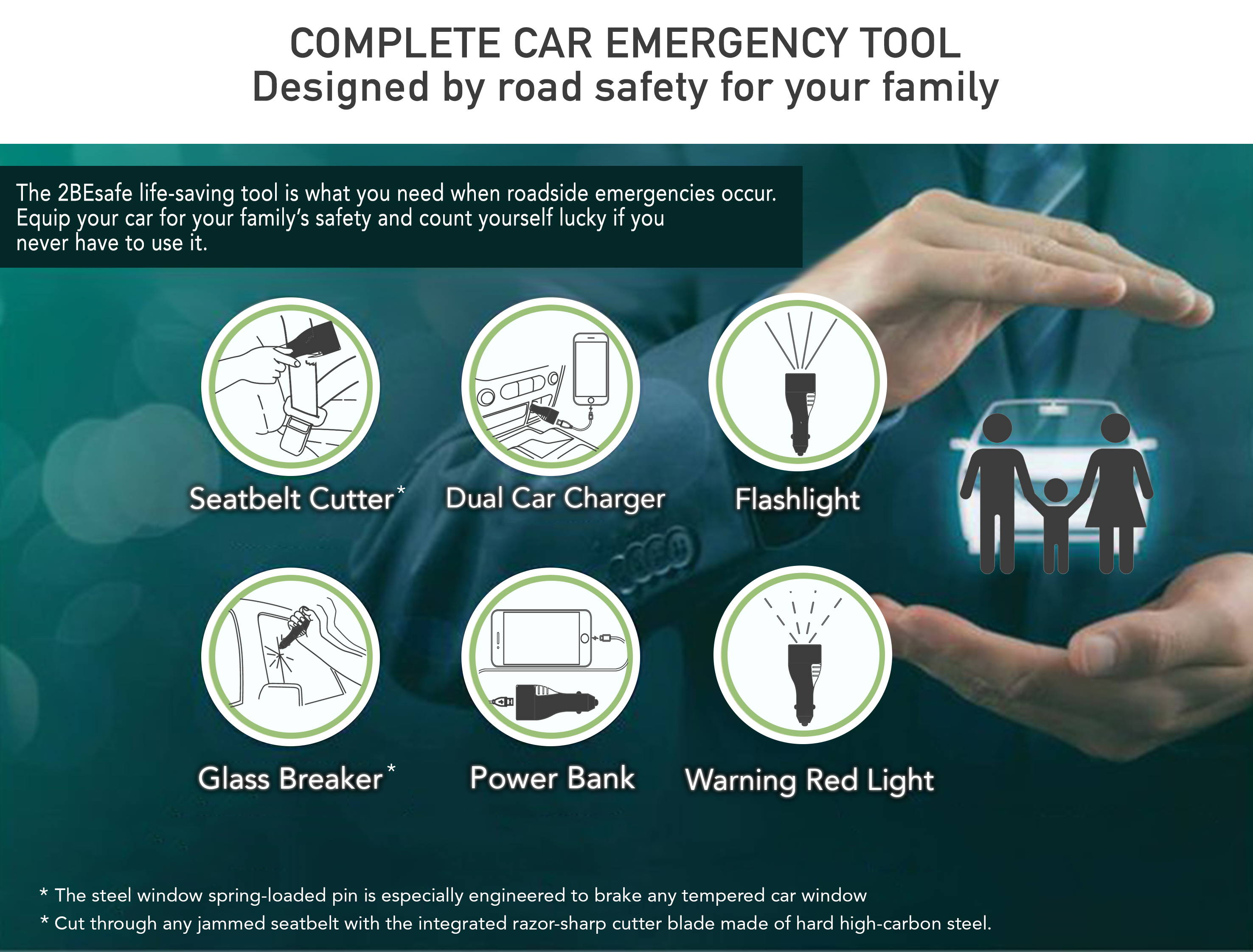 2BEsafe life-saving tool is what you need when roadside emergencies occur. Equip your car for your family's safety and count yourself lucky if you never have to use it.