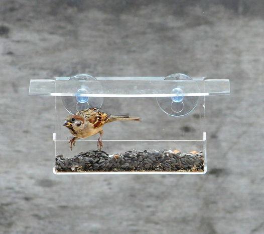 """Прозрачная кормушка для птиц на окно """"Лоток"""""""