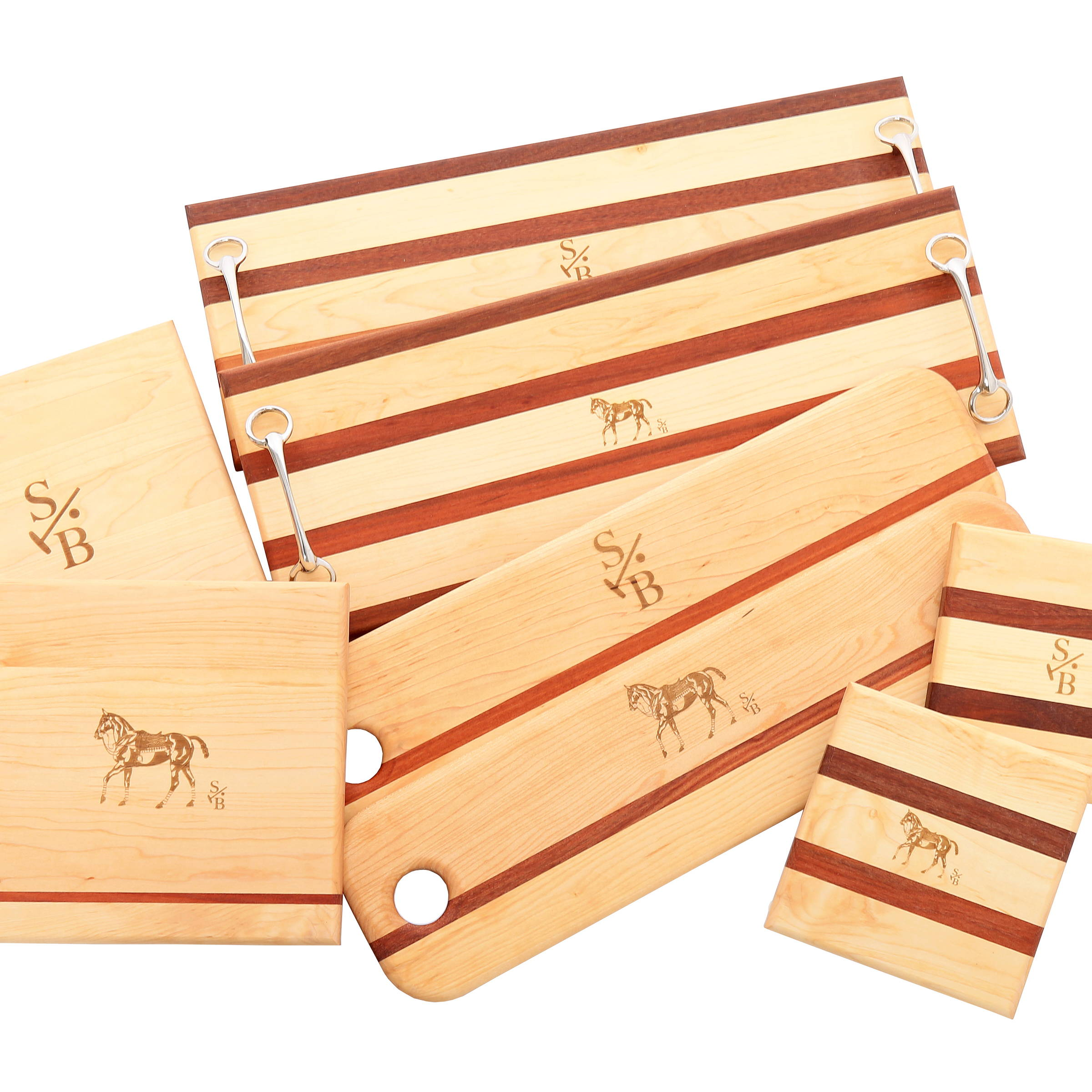 Display of Equestrian-inspired Cheese & Charcuterie Board with Stick & Ball Logo & Polo pony