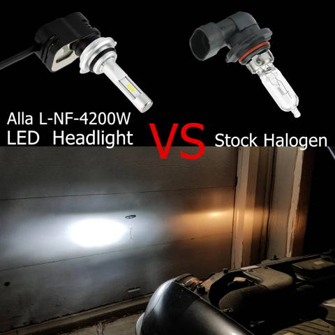 9012-HIR2-LED-Headlights-Bulbs-6000K-White-vs-halogen-55W-headlamp