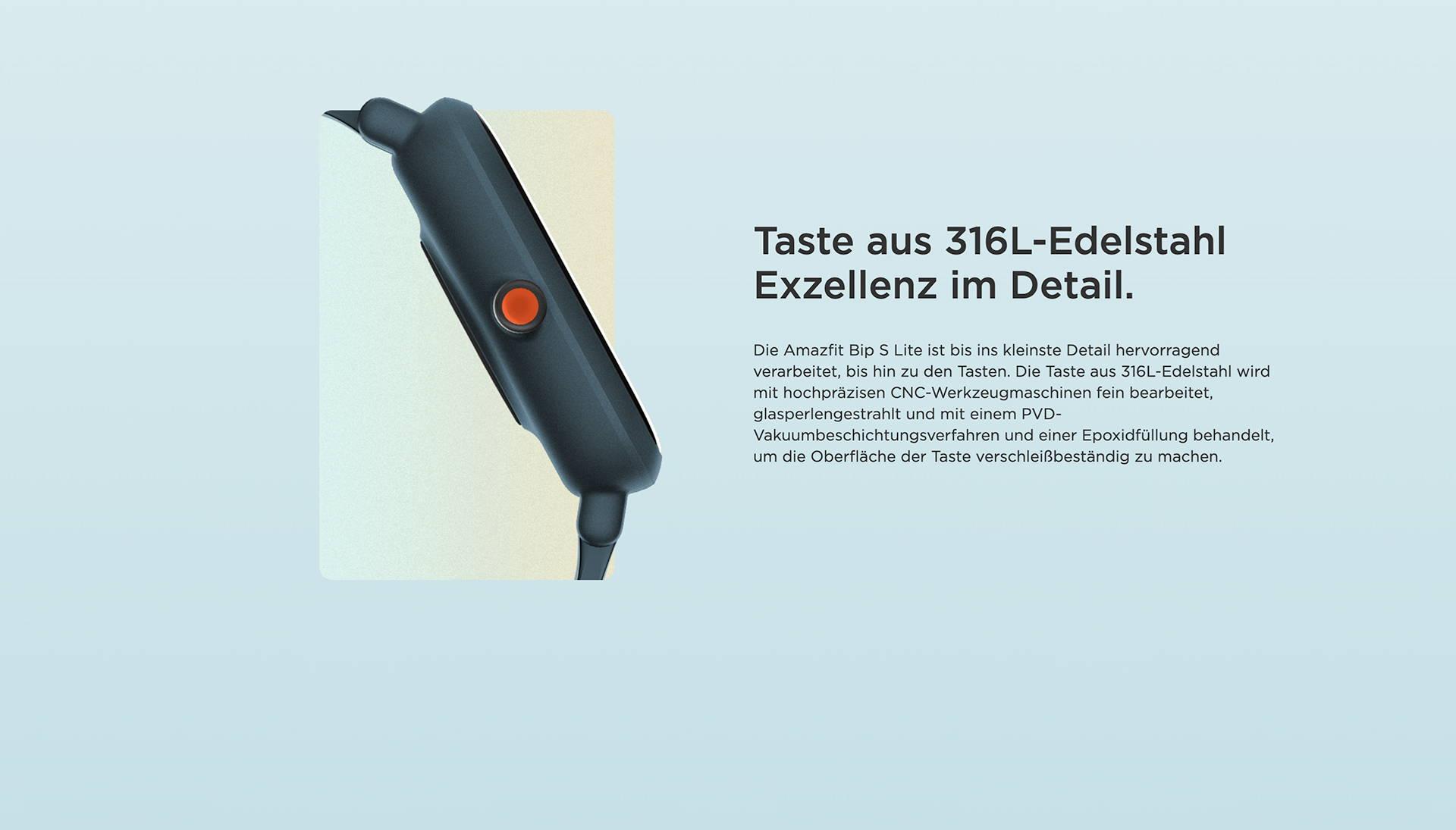 Amazfit DE - Amazfit Bip S Lite - Taste aus 316L-Edelstahl Exzellenz im Detail.