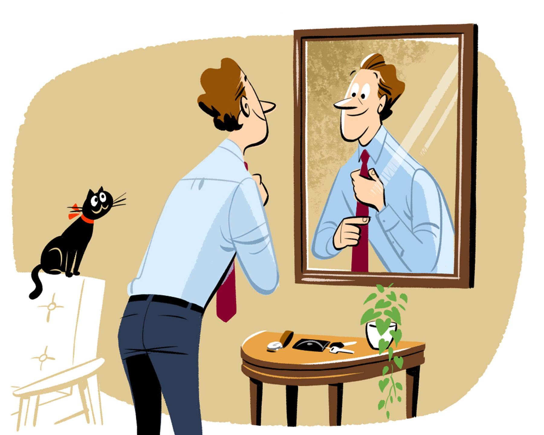 Illustration of man tying tie with cat