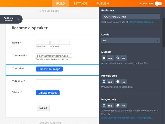 Changing File Uploader Settings in JotForm