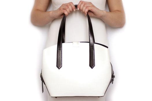 Черно-белая кожаная сумка Linda