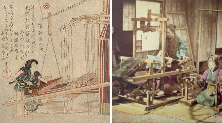 Traditional weaving scenes. One a print and another a handcoloured photo from 1860 of women at a loom