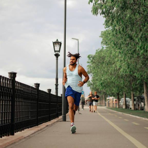 Fast man running