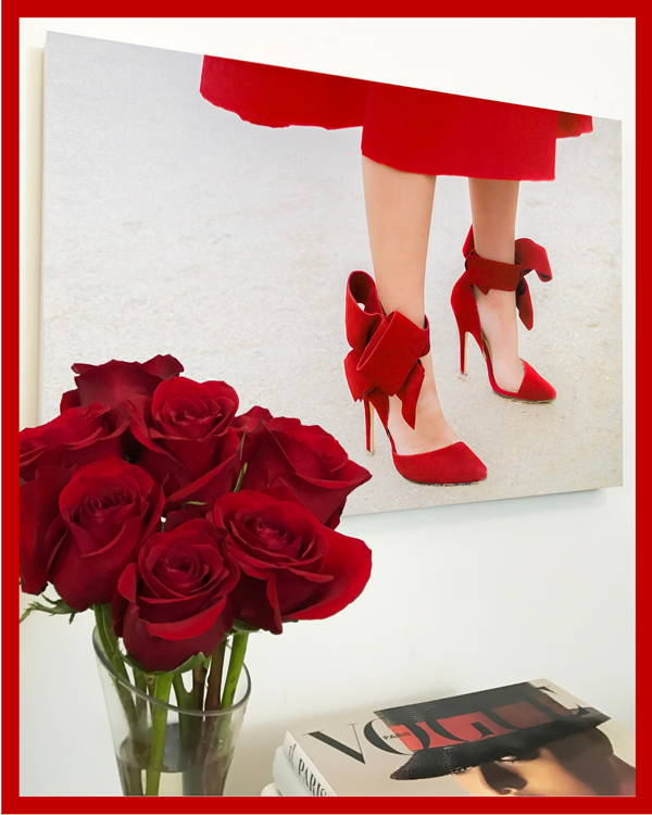 Fashion Wall Art Print - Red Over Heels - Recoveted