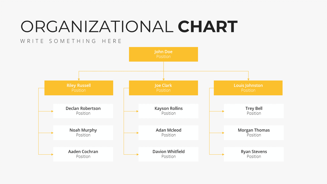 Minimal X Consulting Firm Proposal Presentation Template Org Chart