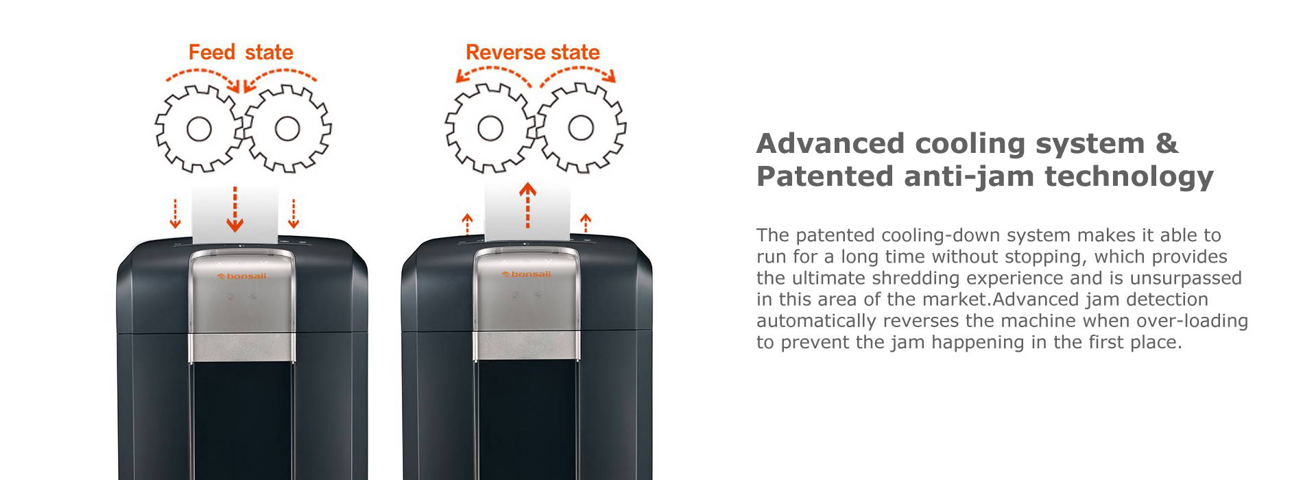 Advanced cooling system & Patented anti-jam technology The patented cooling-down system makes it able to run for a long time without stopping, which provides the ultimate shredding experience and is unsurpassed in this area of the market.Advanced jam detection automatically reverses the machine when over-loading to prevent the jam happening in the first place.