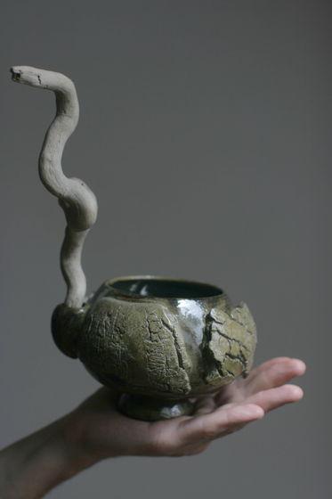 Керамическая Чаша с деревянной ручкой. В НАЛИЧИИ