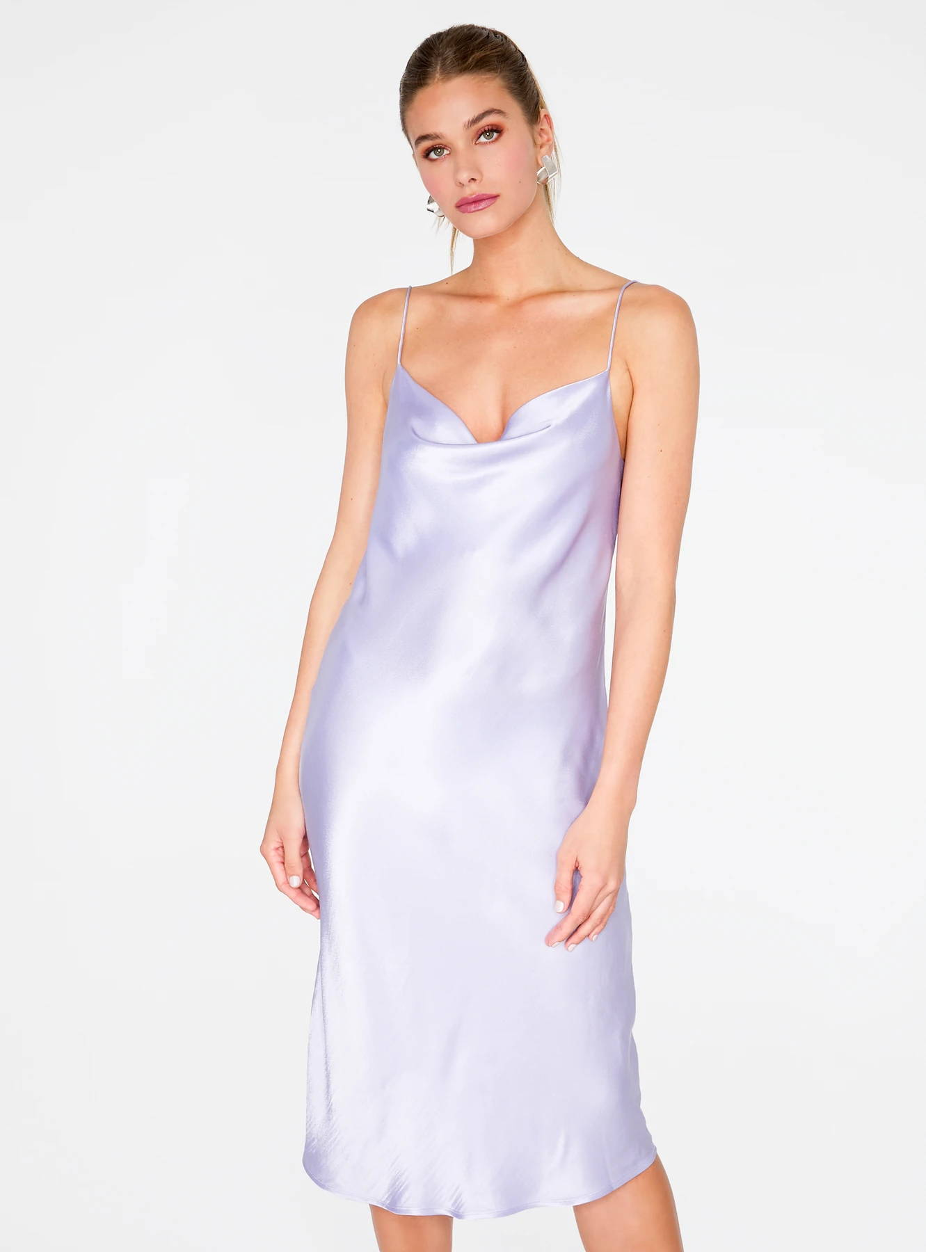 Lavender Cowl Neck Satin Slip Midi Dress