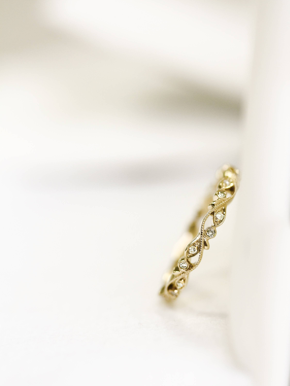 Diamond Floral Vine Filigree in 10k Yellow Gold Ring