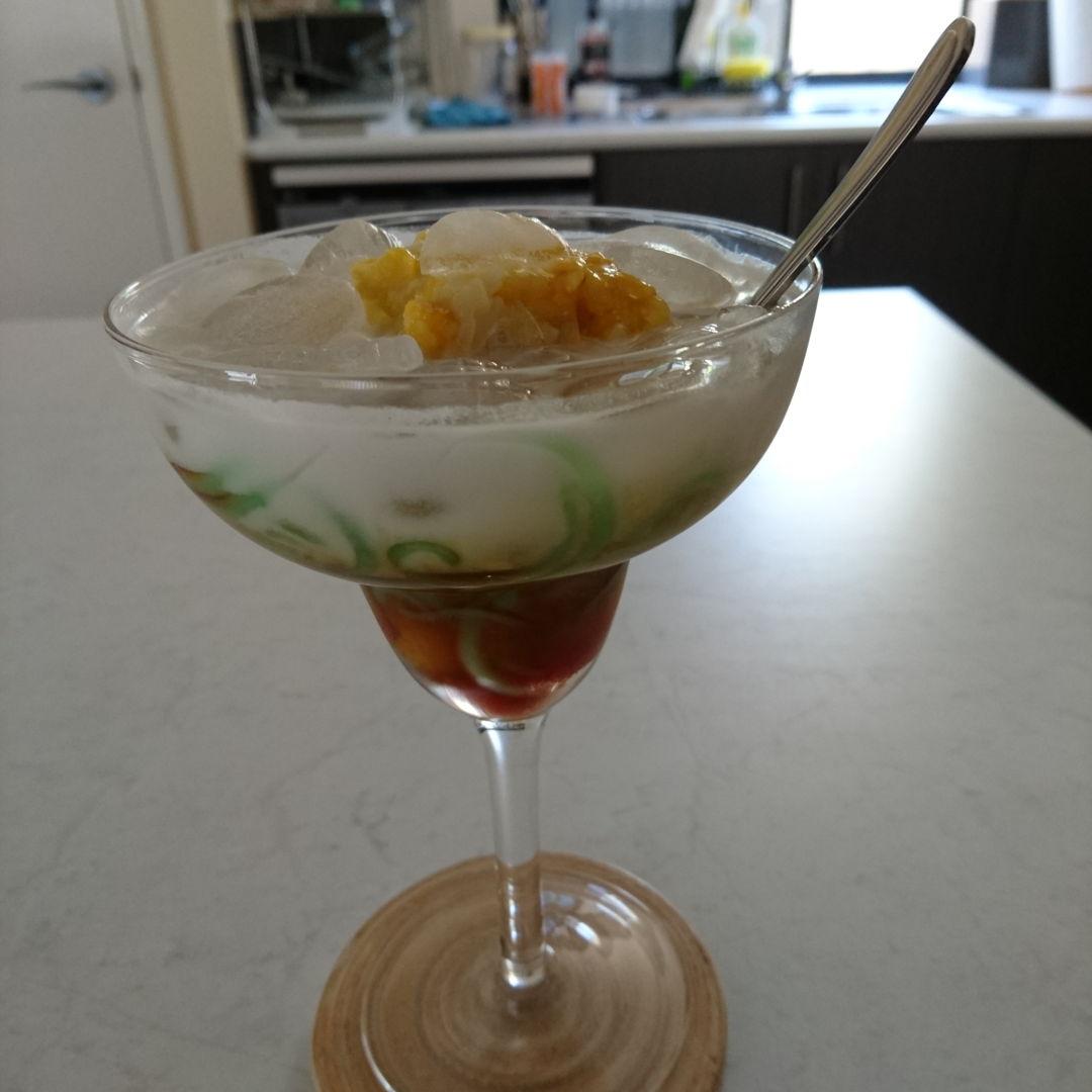Date: 26 Oct 2019 (Sat) 12th Dessert: Cendol (Rice Flour Jelly Drink with Coconut Milk) [79] [102.1%] [Score: 8.0] Author: Nyonya Cooking [Grace Teo] & Helen's Recipes (Vietnamese Food) Cuisine: Malaysian, Singaporean, Burmese, Thai, Vietnamese, Bruneian, Cambodian  Dish Type: Dessert/Drink