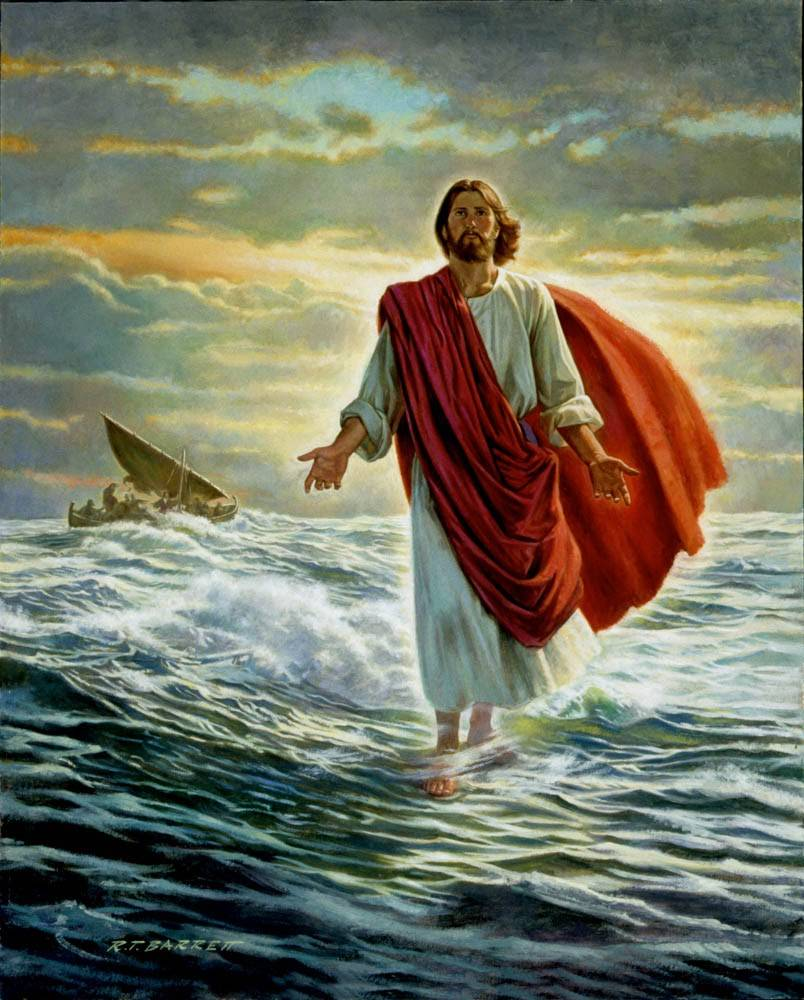 Traditional painting of Christ walking on the water toward viewer.