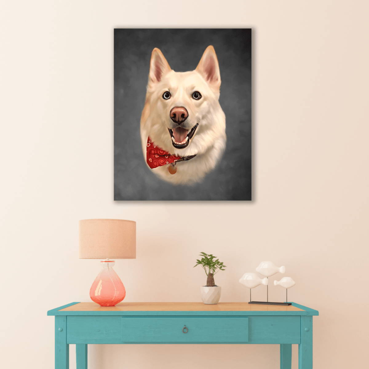 Dog picture on wall of home