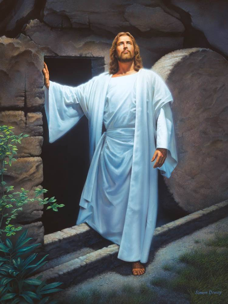 A painting of Christ dressed in white, stepping out of the tomb, looking up toward Heaven.