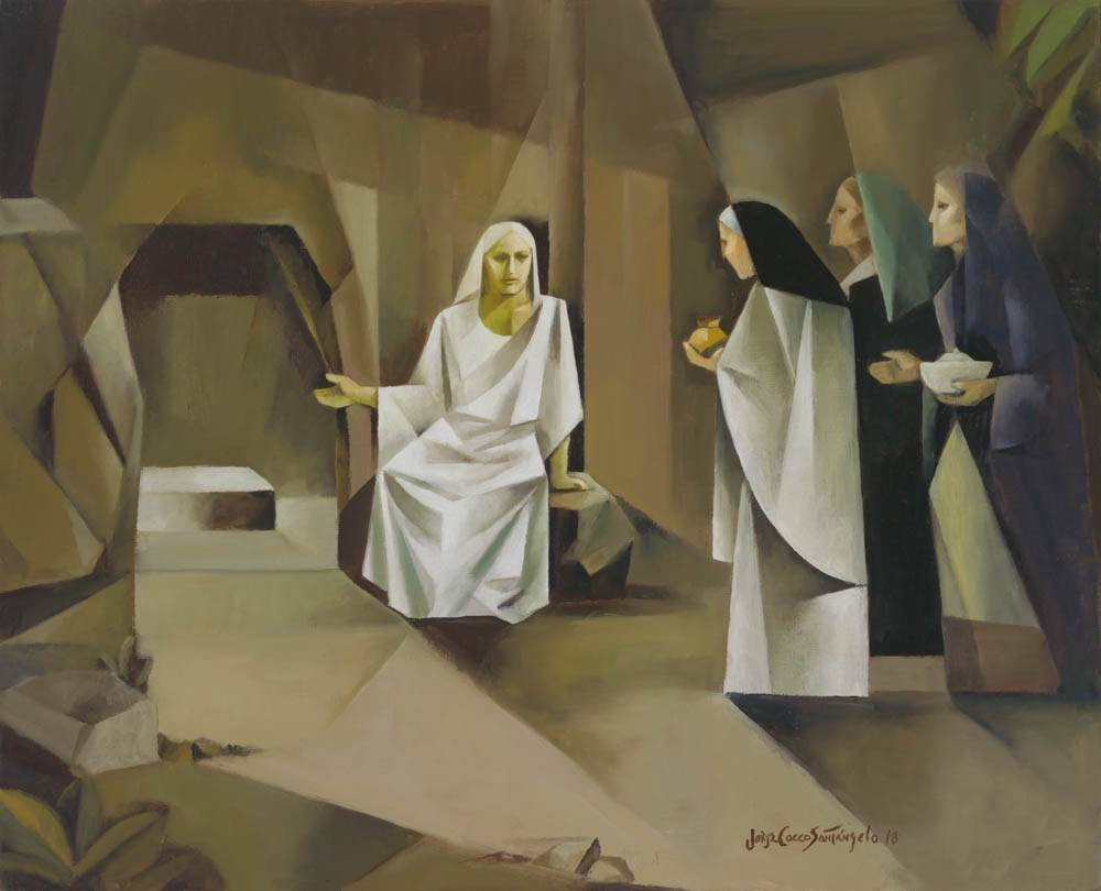 Modern resurrection art of an angel showing the Jesus' empty tomb to three women.