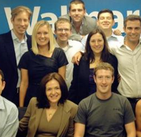 At Facebook, Kate Aronowitz [2nd row, l.] was a figurative heartbeat from the Sheryl Sandberg, Mark Zuckerberg throne.