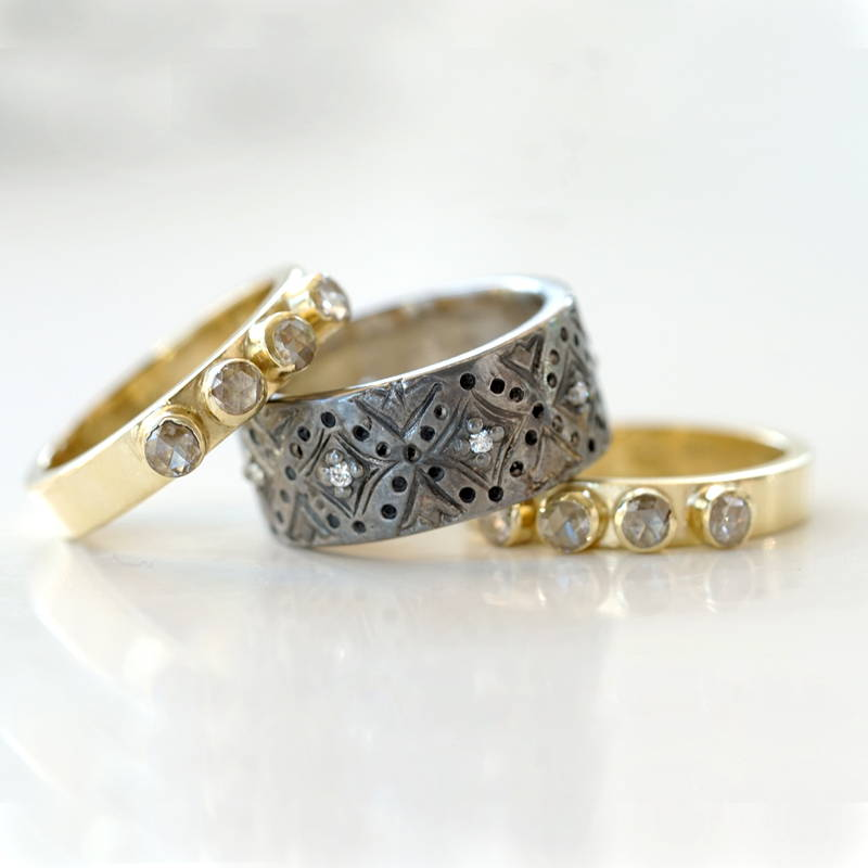 white gold band with rose cut diamond rings