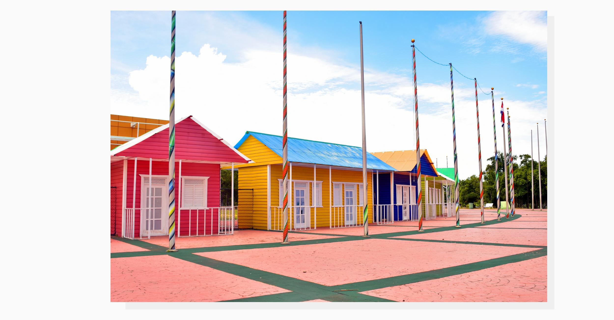 colorful house facades