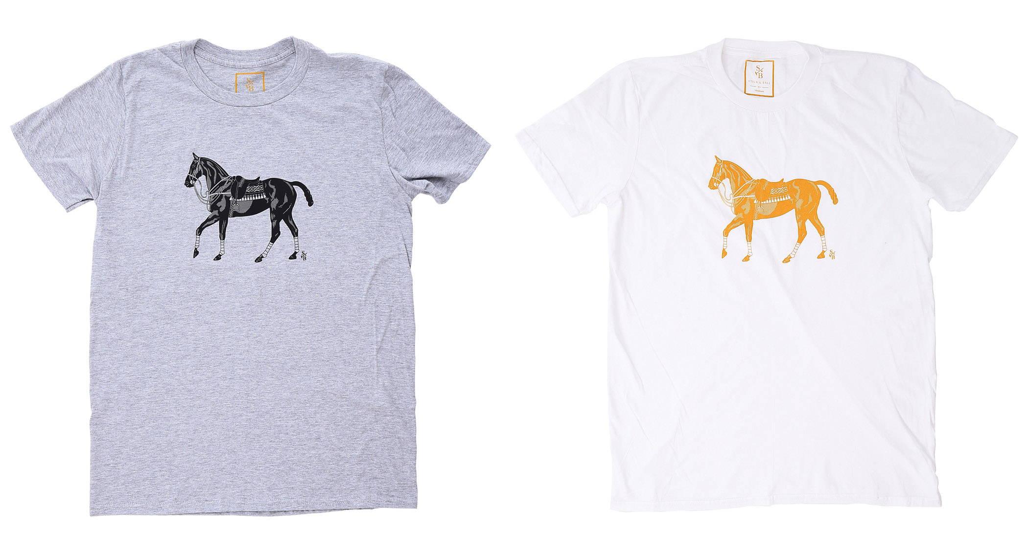 Row of Men's designer polo pony tees in white & grey - Stick & Ball