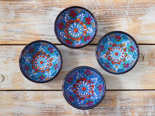 Набор керамических синих соусниц (4 шт)