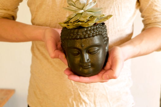 Цветочный горшок Будда / Черный угольный