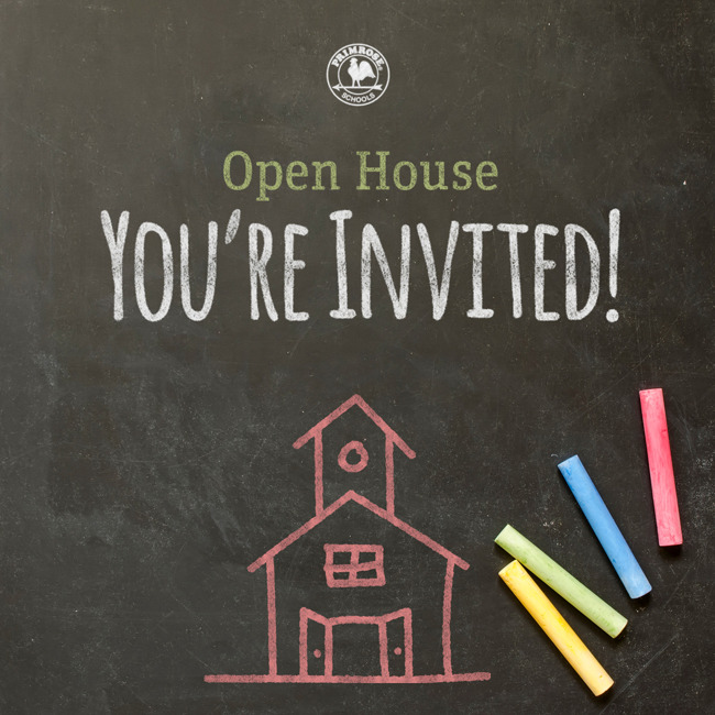 Illustrated poster for the open house inviting everyone