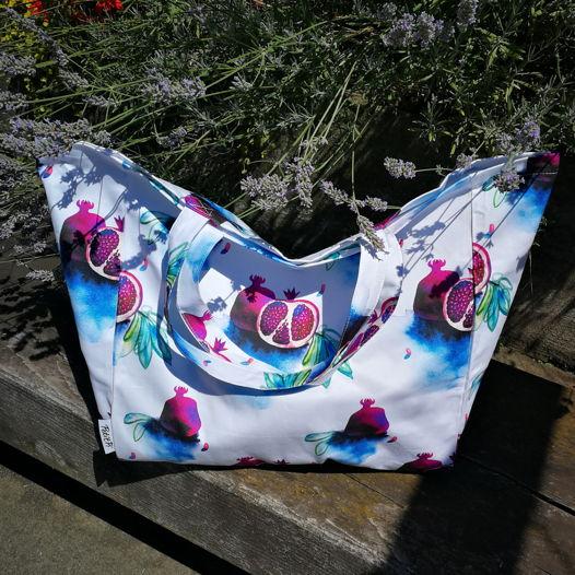 Пляжная сумка с авторским принтом «Гранаты»