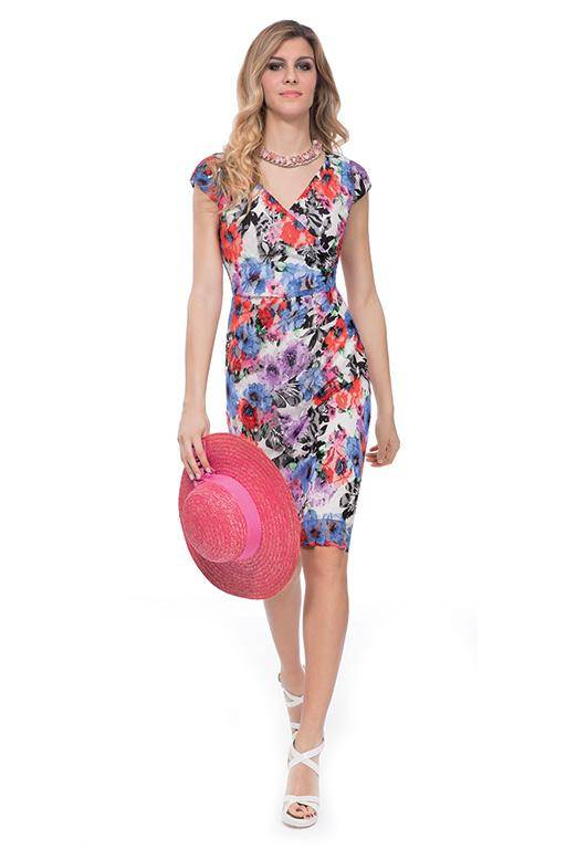 MICHAELA LOUISA 8448 PINK BLUE FLORAL DRESS