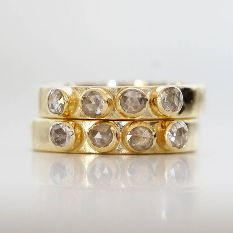 Rose cut diamond gold bands