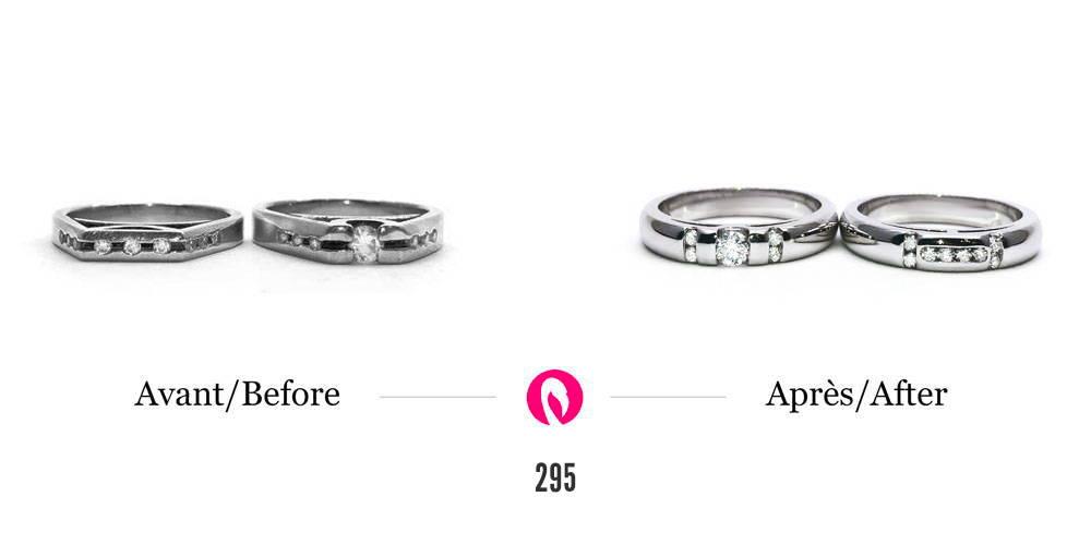 Transformation sur deux bagues en or blanc avec diamants en deux nouvelles alliances de mariage arrondies avec sertissage de diamants moderne.
