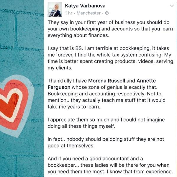 Katya Varbanova Facebook Post Thanking Annette - Client Testimonial