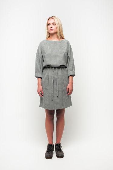 Платье с кулиской шерстяное пье-де-пуль